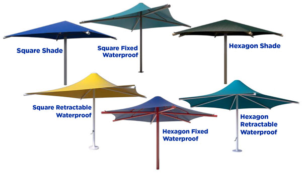 select fixed and retractable umbrellas