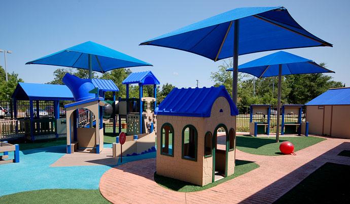 Playground Equipment with umbrellas