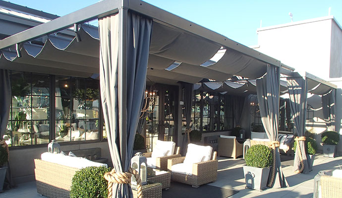Home \ Retractable Pergola Covers. Custom Reatractable Cable Slide Shade  System