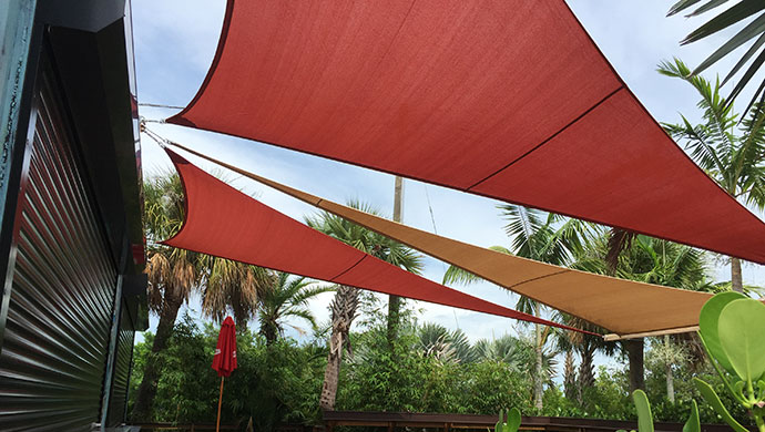 Shade sails at The Getaway, St. Peterburg