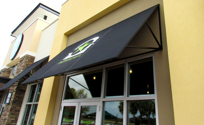 fixed fabric awning with graphics