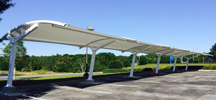 multi-vehicle tension sunshade canopy carport