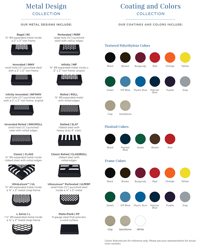 metal designs and powder coat colors available from Superior Recreational Products