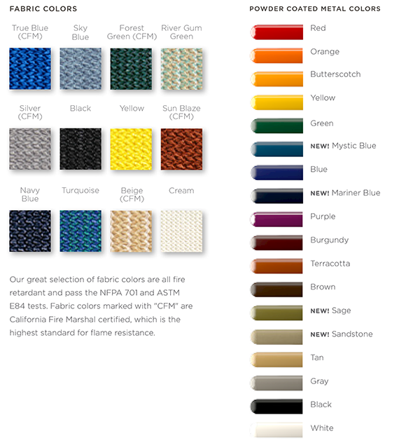 fabric and powder coat colors for shade sails and tension sunshades