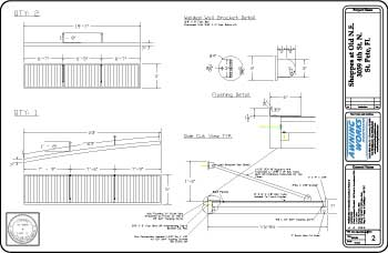 engineered commercial metal canopy cad drawing
