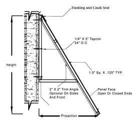 Standing Seam Canopies on key drawing