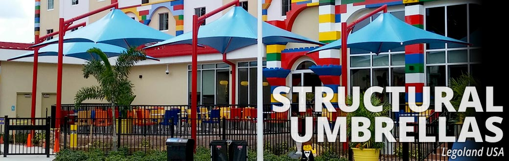 structural umbrellas at LegoLand USA