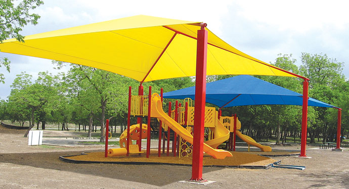 Playground Equipment with tensioned sunshade & Playground Equipment u0026 Shade
