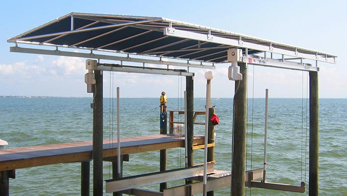 ... Boat Lift Canopies. Awning Works Inc. Davit Canopy & Boat Lift Canopies