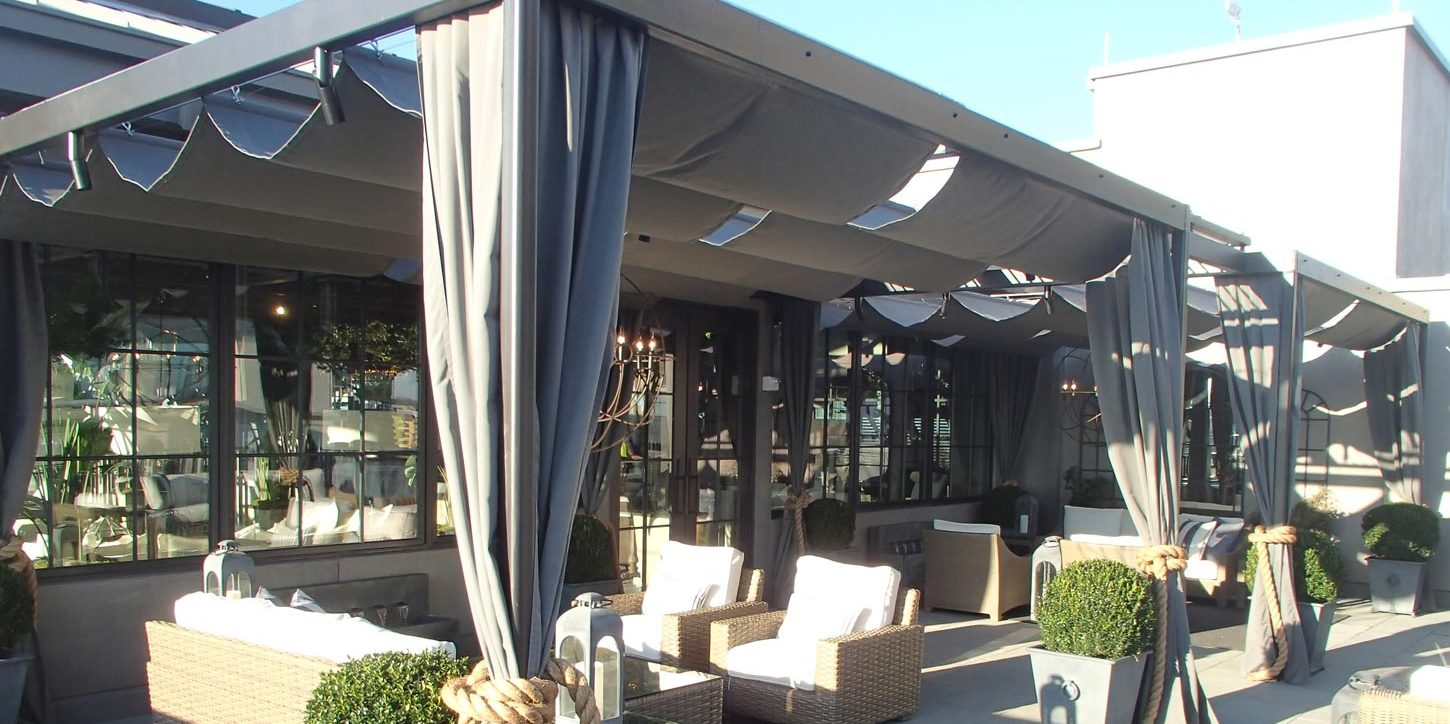 Restoration Hardware Atlanta, GA Custom Pergola Cover designed by Patio Lane